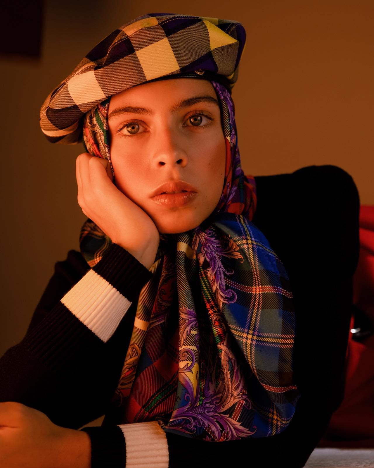 Как носить платок стиль с беретом